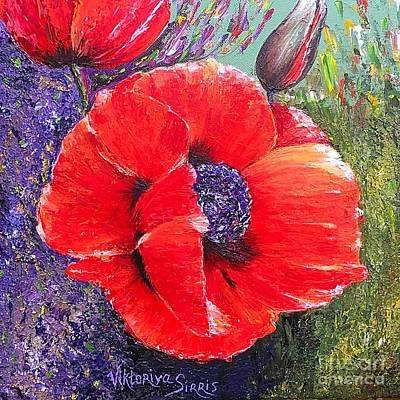 Pallet Knife Painting - Red Poppies by Viktoriya Sirris