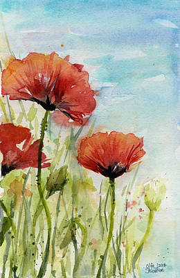Red Poppies Watercolor Print by Olga Shvartsur