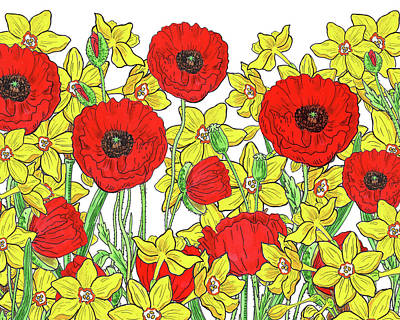 Royalty-Free and Rights-Managed Images - Red Poppies Yellow Daffodils Watercolor Pattern by Irina Sztukowski