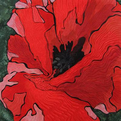 Red Poppy Abstract Original by Deborah Wirsu
