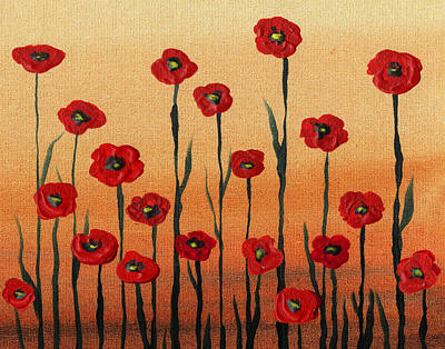 Painting - Red Poppy Field Landscape  by Irina Sztukowski