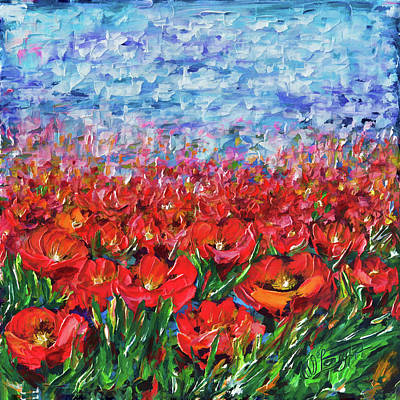 Painting - Red Poppy Field by OLena Art Brand