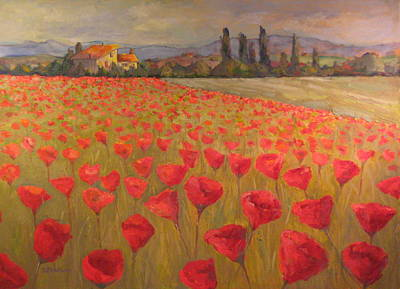 Red Poppy Field Art Print by Sam Pearson