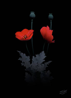 Toxic Digital Art - Red Poppy Flower by IM Spadecaller