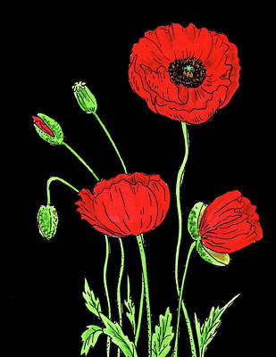 Painting - Red Poppy Flowers Watercolour by Irina Sztukowski