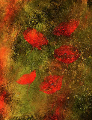 Floral Hand-painted Frame Painting - Red Poppy On Color Background. Red Poppies. Red Flower On Abstract Color Background by Jozef Klopacka