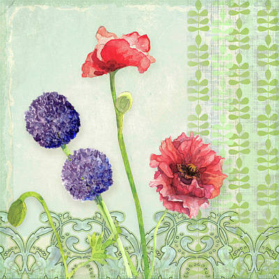 Mod Painting - Red Poppy Purple Alium I - Retro Modern Patterns by Audrey Jeanne Roberts