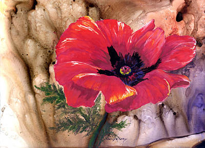 Art Print featuring the painting Red Poppy by Sherry Shipley
