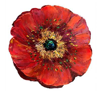 Digital Art - Red Poppy Transparent  by OLena Art Brand
