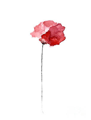 Red Poppy Watercolor Minimalist Painting Art Print