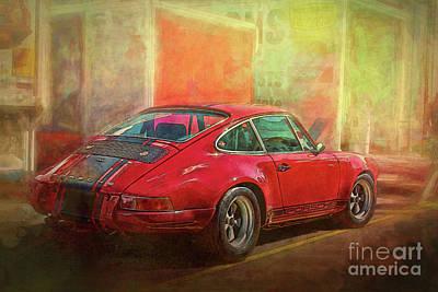 Photograph - Red Porsche 911 Rear View by Stuart Row