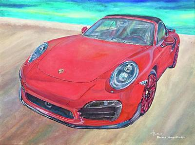 Painting - Red Porsche 911 Turbo S by Anna Ruzsan