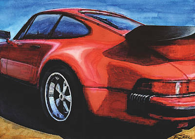 Red Porsche 930 Turbo Art Print by Rod Seel