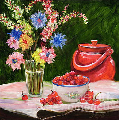 Painting - Red Pot And Cherries by Pati Pelz