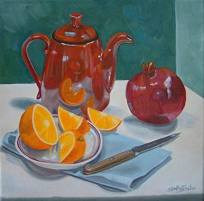 Teapot Painting - Red Pot by Cynthia Snider