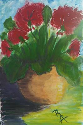 Painting - Red Potted Geraniums by Rosemary Augustine