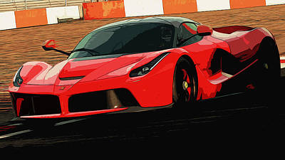 Painting - Red Power - Ferrari  by Andrea Mazzocchetti