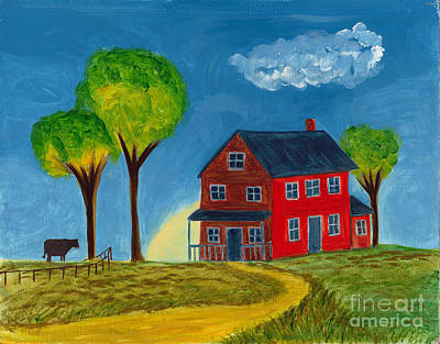 Red Praire House Art Print by Gail Finn
