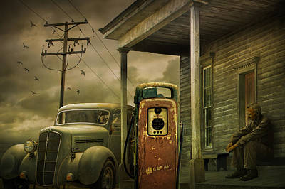 Red Pump With An Old Plymouth Auto At The Gasoline Station Art Print by Randall Nyhof
