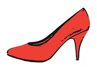 Fetish Digital Art - Red Pump Womans Shoe Tee by Edward Fielding