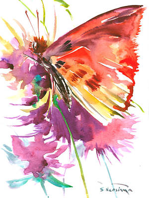 Kids Room Art Drawing - Red Purple Floral Butterfly by Suren Nersisyan