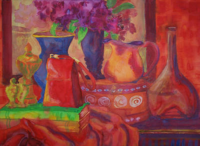 Warm Tones Painting - Red Purse On Green Book by Blenda Studio
