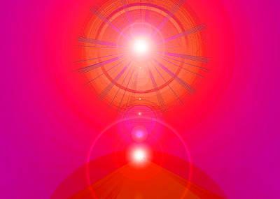 Red-pyramid-light Art Print