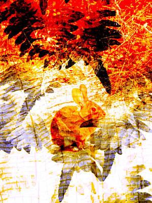 Violent Digital Art - Red Rabbit by Robert Ball