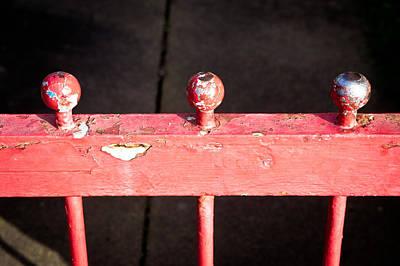 Wooden Platform Photograph - Red Railing by Tom Gowanlock