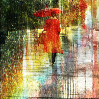 Red Rain Day Art Print