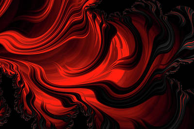 Digital Art - Red Rapture Abstract by Georgiana Romanovna