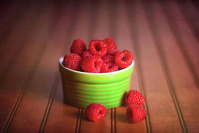 Red Raspberries Still Life Art Print by Tom Mc Nemar