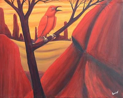 Painting - Red Raven by Art Enrico