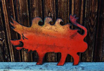 Red Razorback Original by Larry Campbell