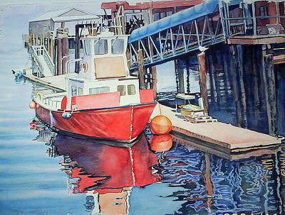 Painting -  Red  Red  Boat Orange Buoy by June Conte Pryor