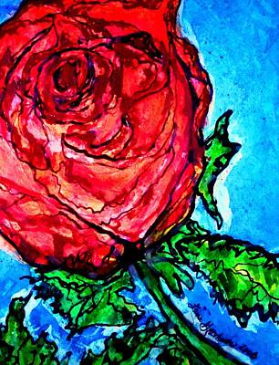 Art Print featuring the painting Red Red Rose by Laura  Grisham