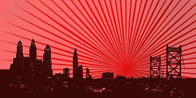 Cityscape Digital Art - Red Reflex Over Philadelphia Skyline by Alberto RuiZ