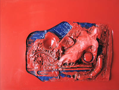 Red Relief Art Print by Chuck Kugler