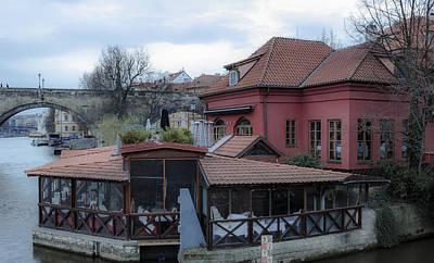 Red Restaurant On Vltava River Art Print by Marek Boguszak