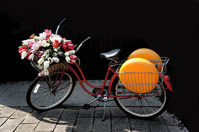 Lady Photograph - Red Retro Bicycle by Art Spectrum
