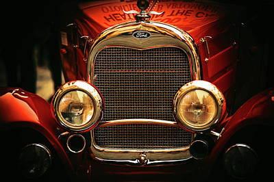 Photograph - Red Retro. Ford Car by Jenny Rainbow