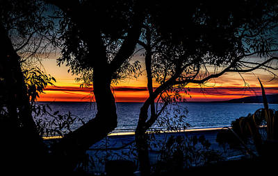Photograph - Silhouettes And Red Ribbons Across The Bay by Gene Parks