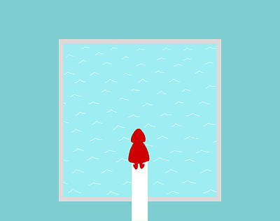 Diving Board Painting - Red Riding Hood At The Pool by Kazumi Whitemoon
