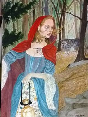 A Girl In A Wood Painting - Red Ridinghood by Judy Riggenbach