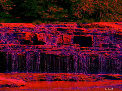 Indiana Rivers Digital Art - Red River Falls by Ed Smith