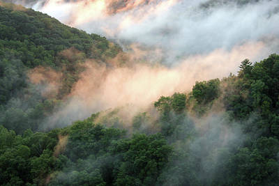 Red River Gorge Kentucky Fog In Mountains At Sunset After A Storm Art Print by Design Turnpike