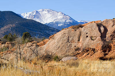 Steven Krull Royalty-Free and Rights-Managed Images - Red Rock and Pikes Peak by Steven Krull