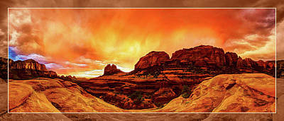 Digitally Manipulated Photograph - Red Rock Blaze by ABeautifulSky Photography