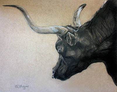 Texas Drawing - Red Rock Canyon Bull by Derrick Higgins