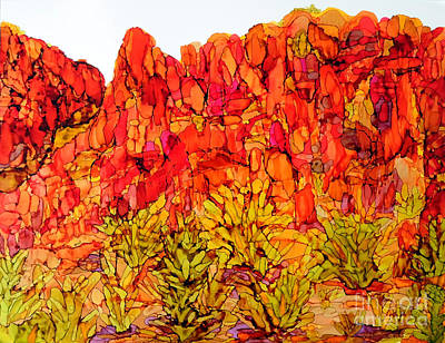 Painting - Red Rock Canyon Veiw From The Loop by Vicki  Housel